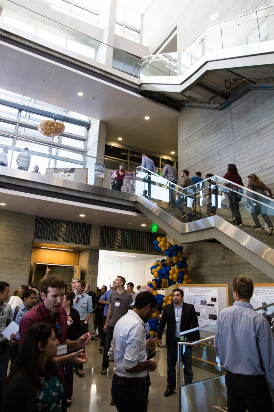 Guests explore the interior of the new bioengineering building