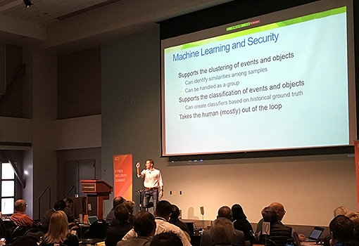 Professor Giovanni Vigna delivers the keynote address on artificial intelligence as a security tool. Photo by Harrison Tasoff
