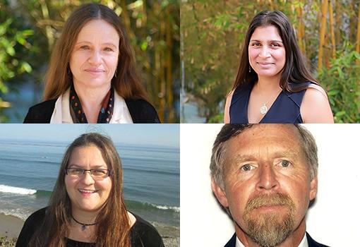 Clockwise from top left: Professors Linda Petzold, Sumita Pennathur, Dennis Clegg, Megan Valentine