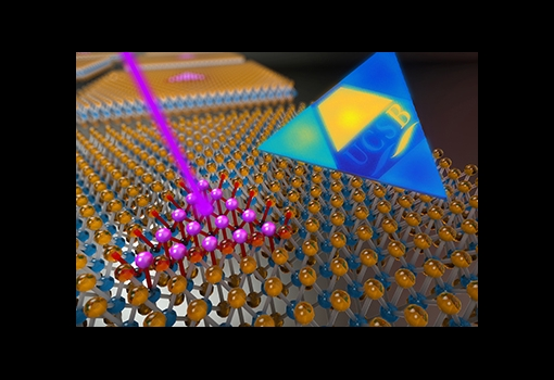 "An artist's representation showing an electron beam (in purple) being used to create a 2D superlattice made up of quantum dots having extraordinary atomic-scale precision and placement. Professor Kaustav Banerjee and his team of researchers at UCSB were able to size and position the quantum dots so precisely that when they were excited with lasers, they emitted light over a range of frequencies to spell out the letters ""UCSB."""