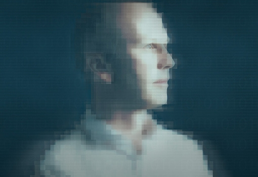 A man in pixellated profile. Photograph by Matt Perko