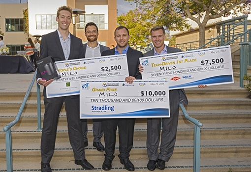 The minds behind Milo (from left): Bob Lansdorp, Netz Arroyo, Daniel Imberman, and Evan Strenk were the big winners at the  TMP New Venture Competition in 2015..
