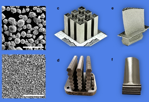 The image shows electron scanning microscopy images of sands melted for 3D printing and printed results made with the new cobalt-nickel superalloy.