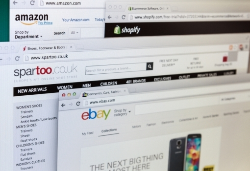 A photo of open web shopping pages displayed on a computer screen