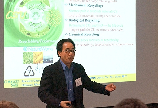 A presenter at the polymer-upcycling workshop at UCSB