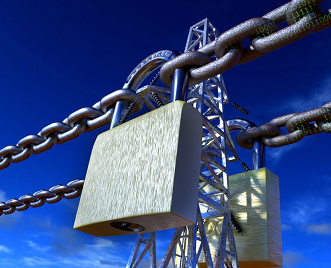 "Artist's interpretation: powerlines ""locked"" against code traveling along them"