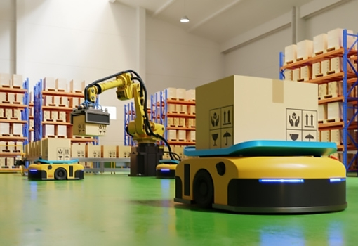 Robots at work in a warehouse
