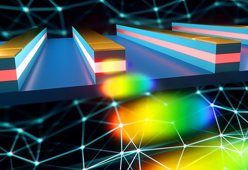 Artist's concept depicting a mode-locked quantum-dot laser in action.