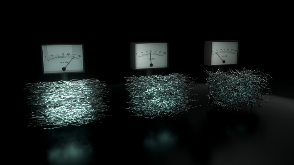 """Artist's depiction of voltmeters and collections of polymer chains represented as bundles of """"sticks."""" Voltage increases as molecular chains become increasingly organized."""
