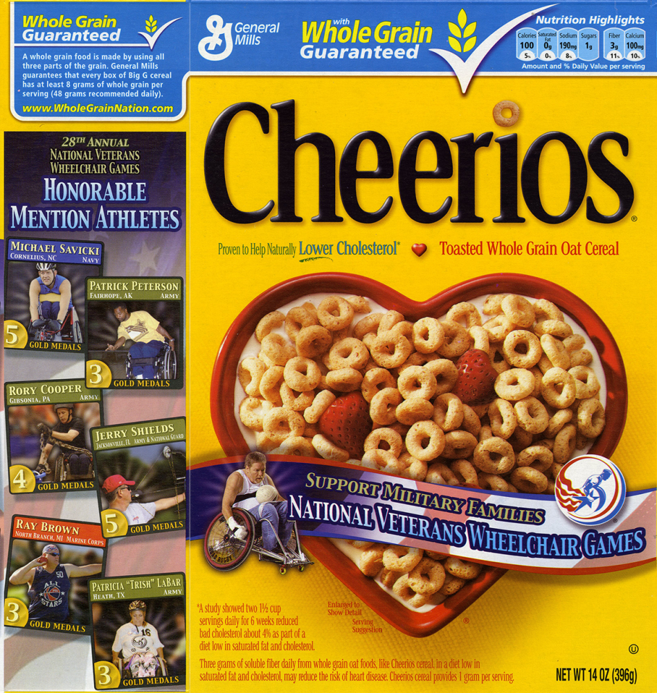 Cheerios box with Cooper on the side panel