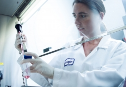 researcher prepares cell culture medium