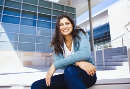 Sumita Pennathur on the steps of UCSB's Engineering Science Building