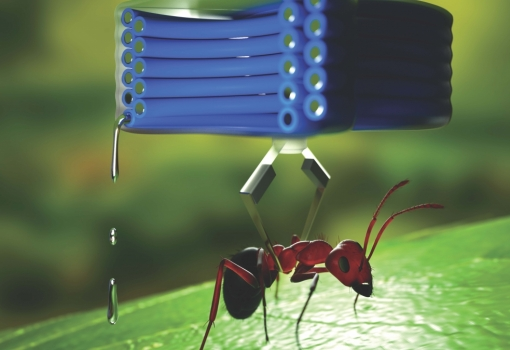 A small, soft actuator made of liquid metals and flexible polymers is the soft analog of an electromagnetic motor. This image appeared on the cover of Advanced Functional Materials