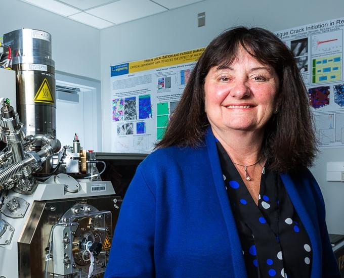 Professor Tresa Pollock in the 3D printing lab.