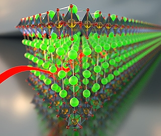 Artist's interpretation of a charge density wave flowing through a lattice of doped strontium iridium oxide.